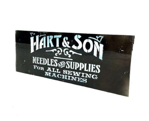 Antique Advertising - Haberdashery Shop Salvaged Glass Window Sign Hart & Son